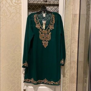Lucky & Coco Kelly Green Tunic with Beading